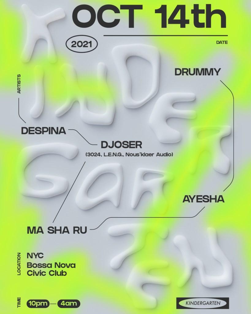 Kindergarten: Djoser, Ma Sha Ru, Ayesha, Despina, DRUMMy - Flyer front