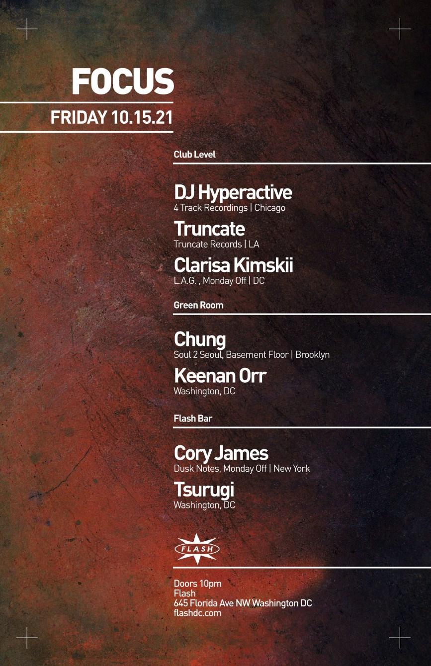 Focus: DJ Hyperactive - Truncate - Clarisa Kimskii - Chung (Soul 2 Seoul) - Flyer front