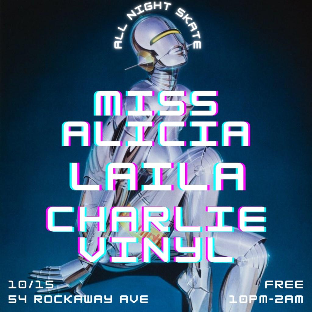 Miss Alicia, Charlie Vinyl, Laila Amira - Flyer front