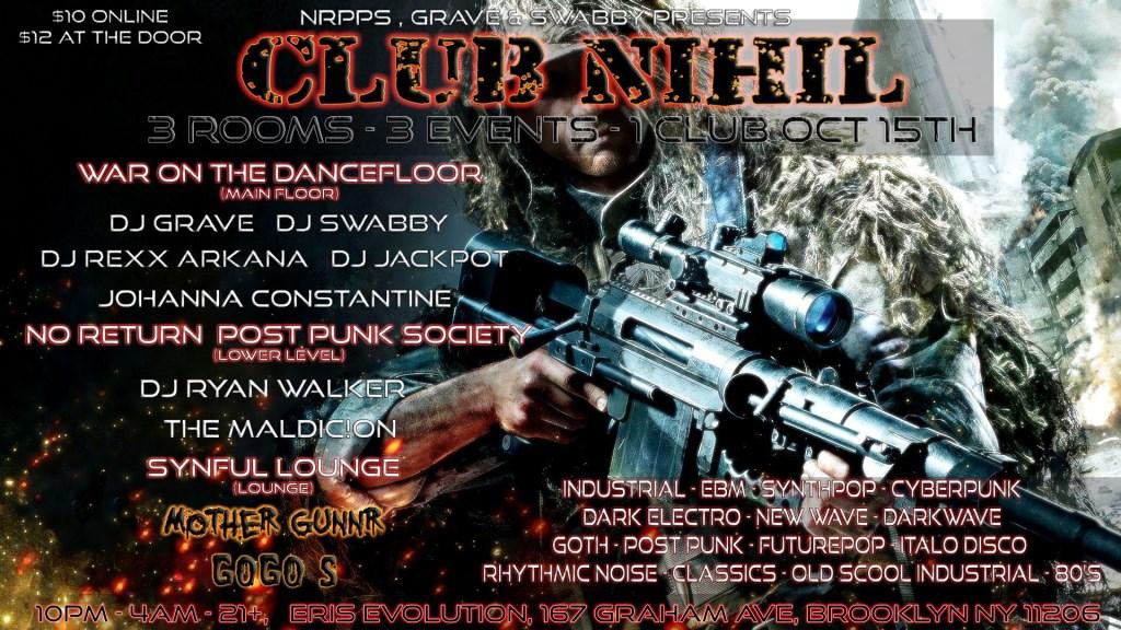 Club Nihil: Post Punk Society, War on the Dancefloor, & Gunnr's Synful Den - Flyer front