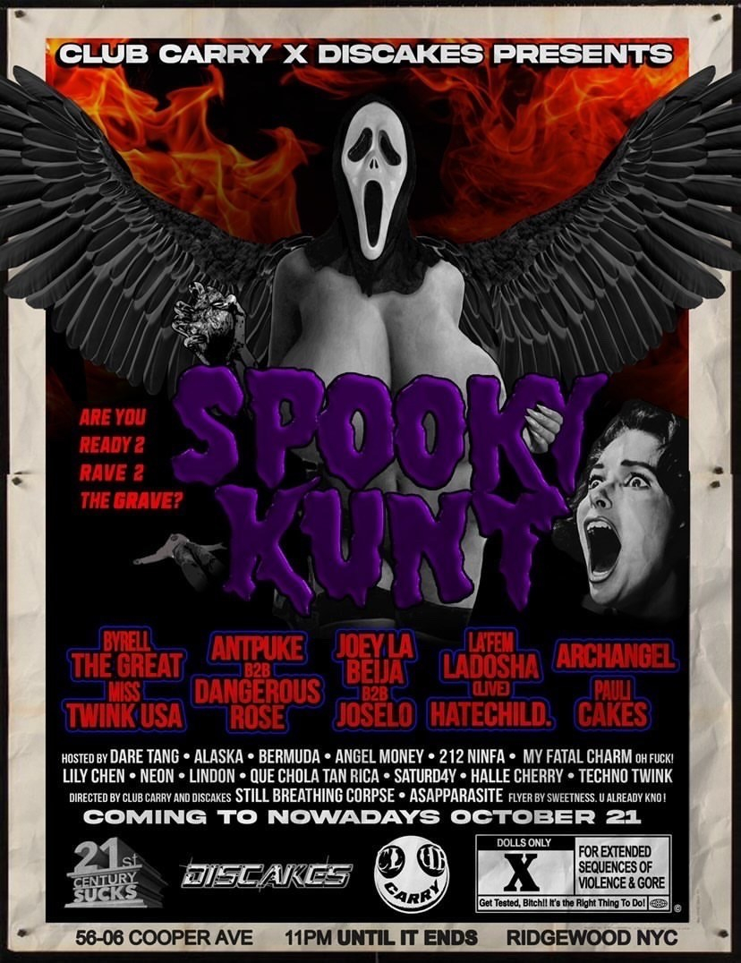 CLUB CARRY X Discakes: Spooky Kunt - Flyer back