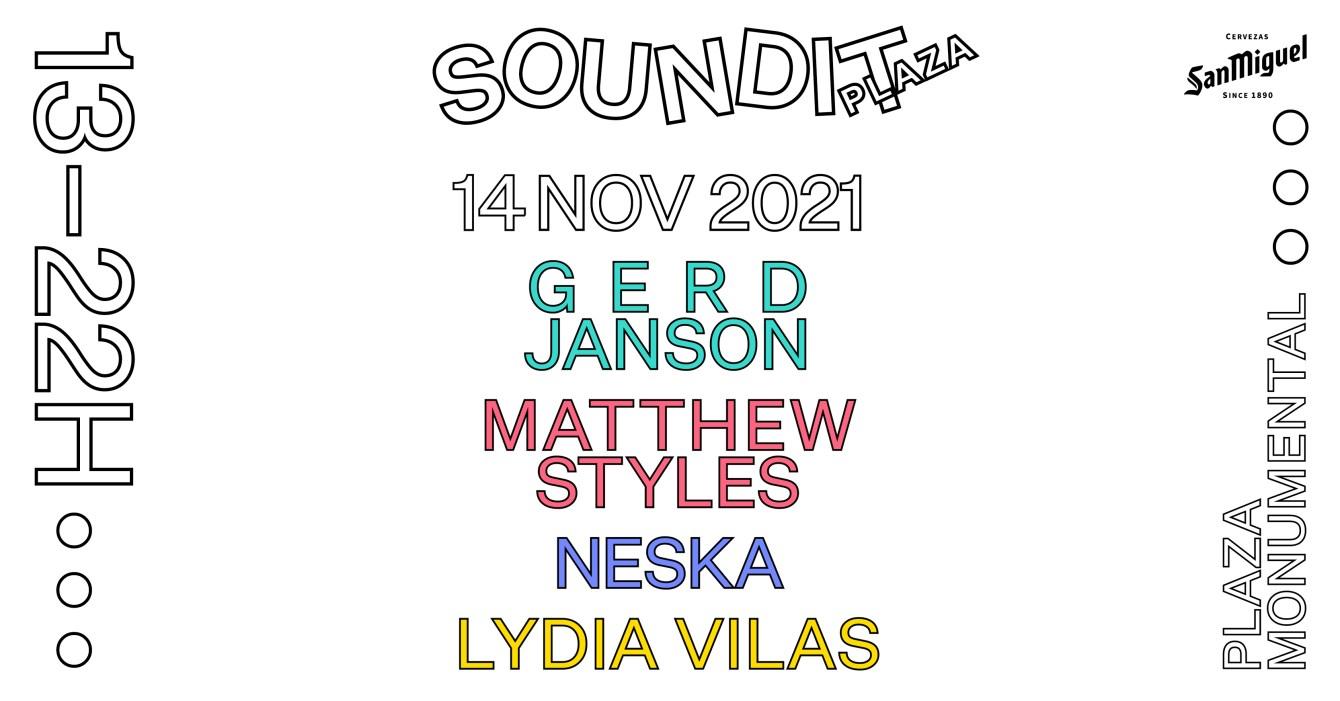 SOUNDIT Plaza: Gerd Janson, Matthew Styles, Neska, Lydia Vilas - Flyer front