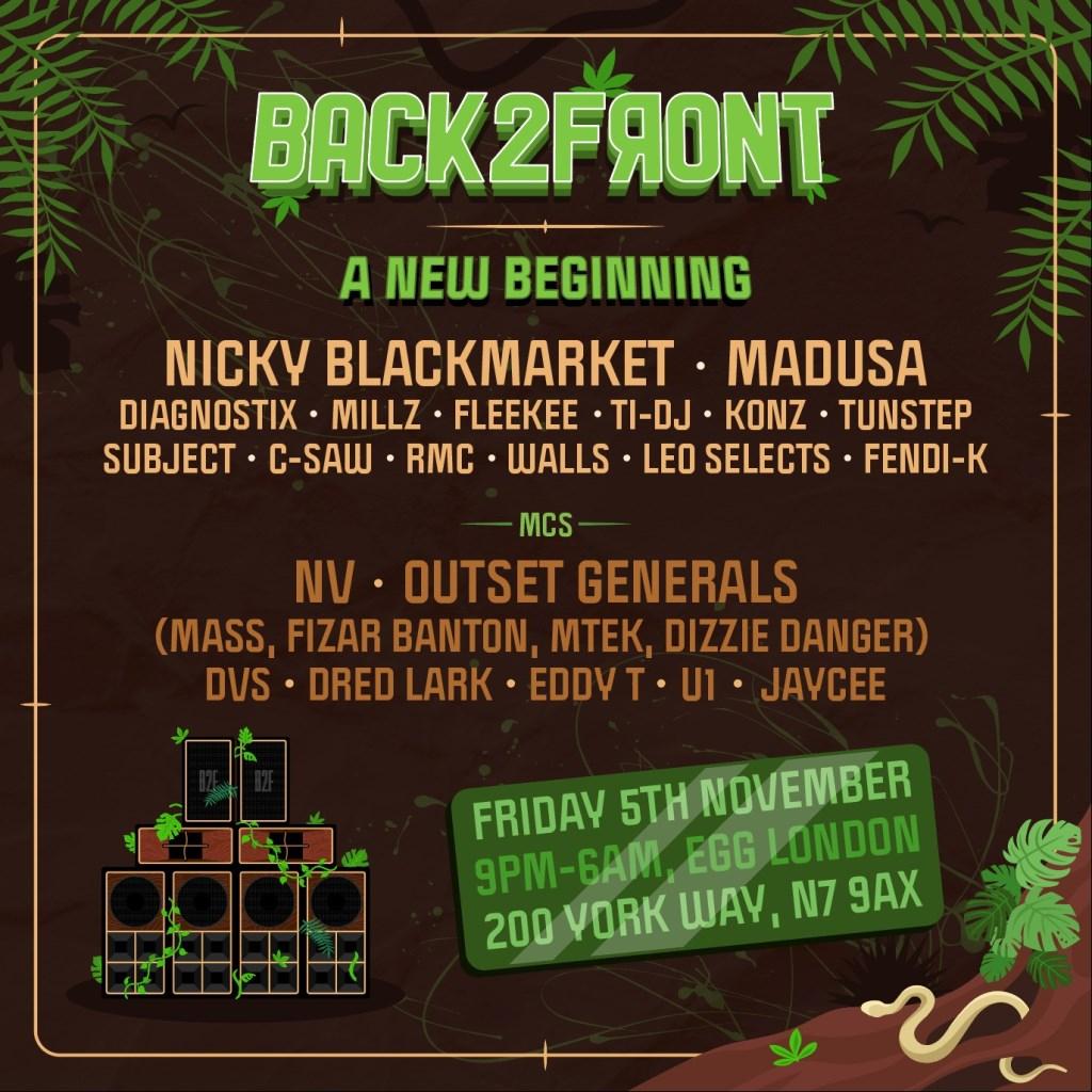 Fridays at EGG: Back2front W/ Nicky Blackmarket, Madusa, NV, Outset Generals More - Flyer front