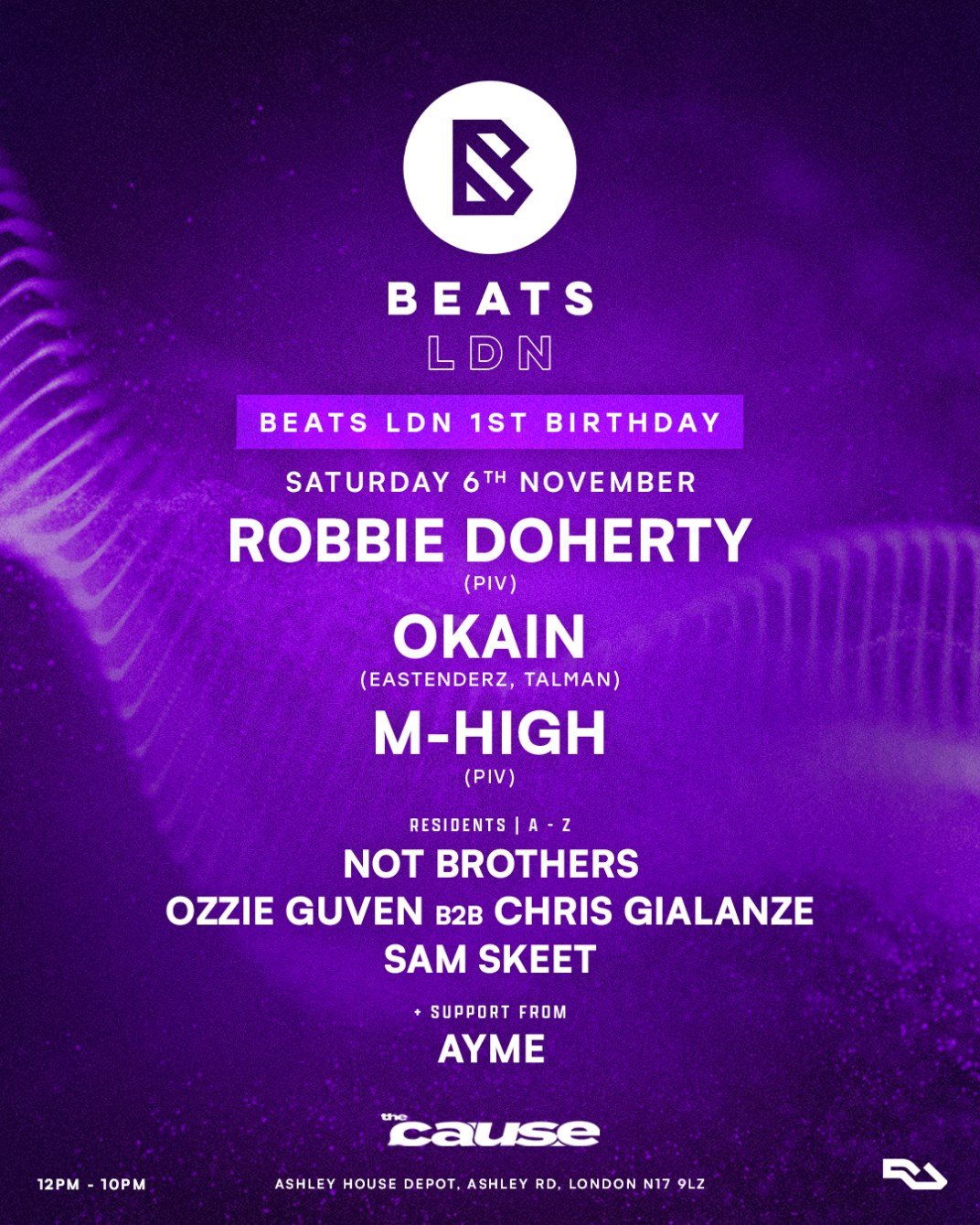 Beats LDN: 1st Birthday [DAYTIME PARTY] with Robbie Doherty, Okain, M-High - Flyer back