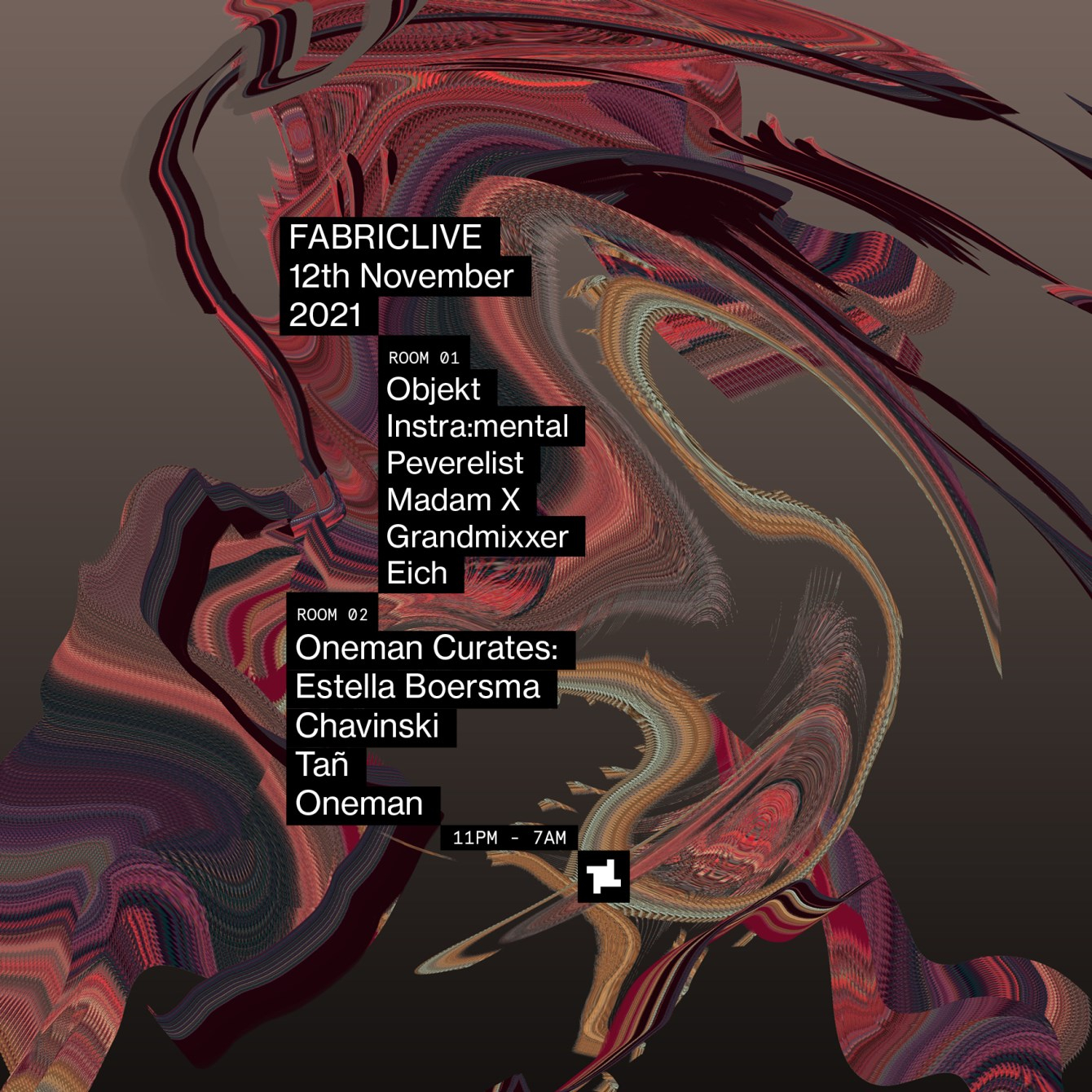 FABRICLIVE: Objekt, Instra:Mental, Oneman Curates, Peverelist & More - Flyer front