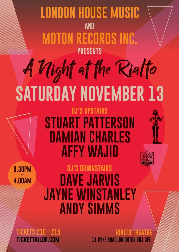 LHM and Moton present .. A Night At The Rialto - Flyer front