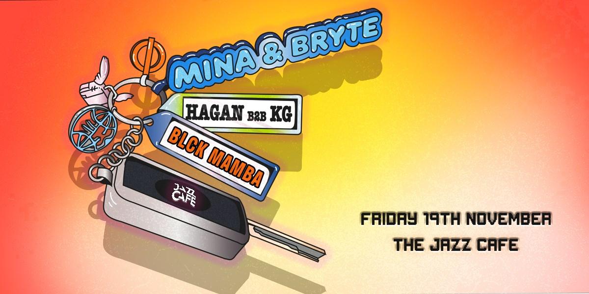 Mina + Bryte, KG b2b Hagan, Blck Mamba - Flyer front