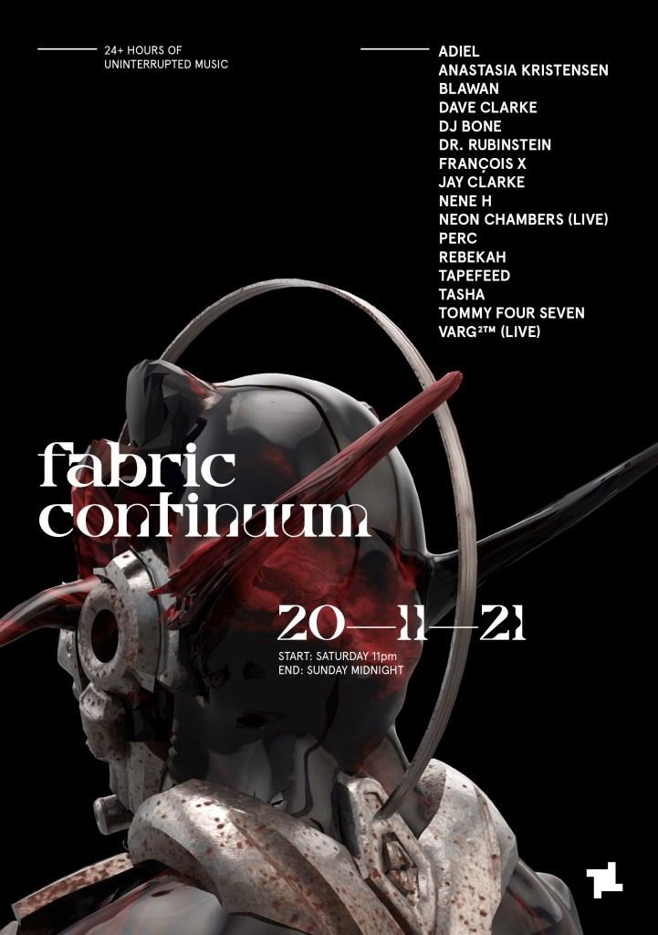 fabric: Continuum - Launch Event with Blawan, Rebekah, DJ Bone, Nene H & More - Flyer front