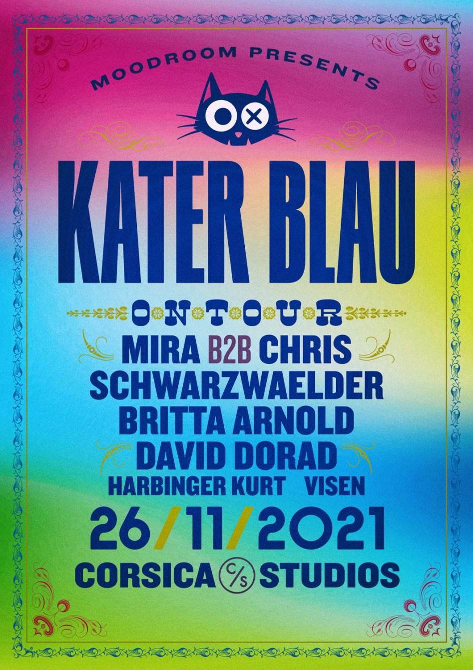 Moodroom x Kater Blau: Mira b2b Chris Schwarzwälder (4 hrs), Britta Arnold, David Dorad - Flyer back