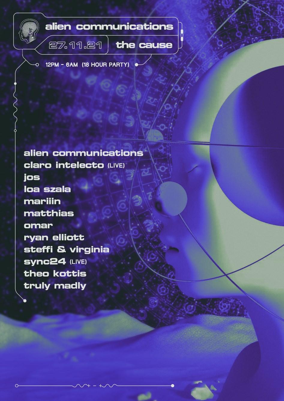 Alien Communications: Claro Intelecto (Live), Steffi & Virginia, Ryan Elliott, Vera & Omar - Flyer front