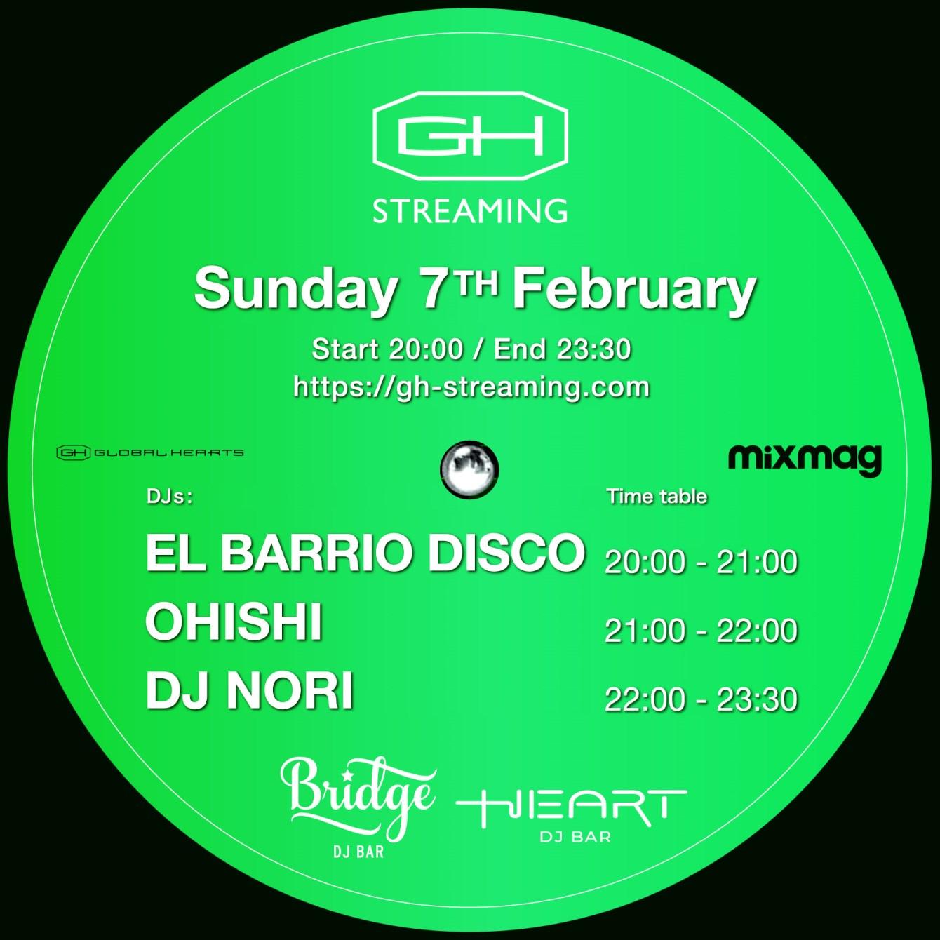 GH Streaming - DJ Nori, Ohishi, EL Barrio Disco - - Flyer front