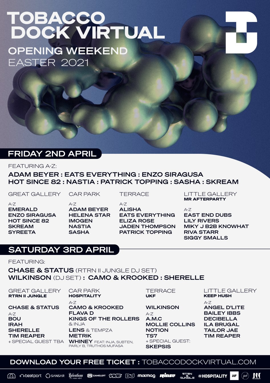 Tobacco Dock Virtual Opening - Friday (House/Techno) - Flyer front