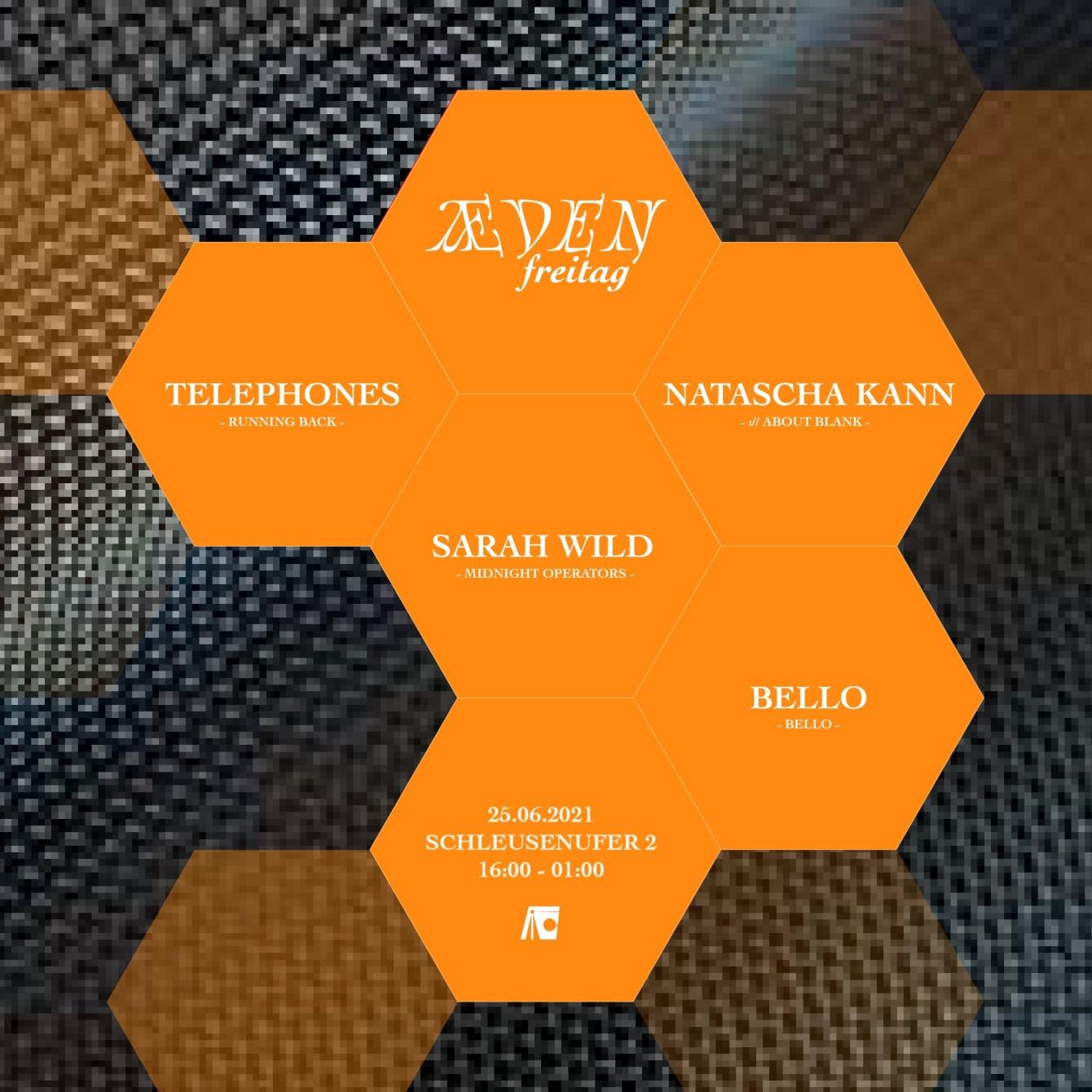 Æden Freitag: Telephones, Natascha Kann, Sarah Wild, Bello - Flyer front