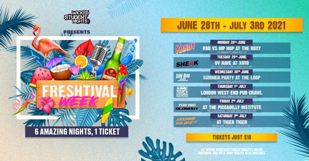 Freshtival Week 2 - 1 Ticket, 6 Events - Flyer front