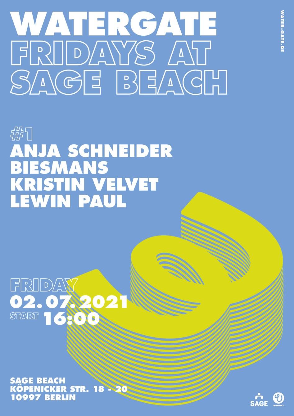 Watergate Fridays at Sage Beach - Flyer front