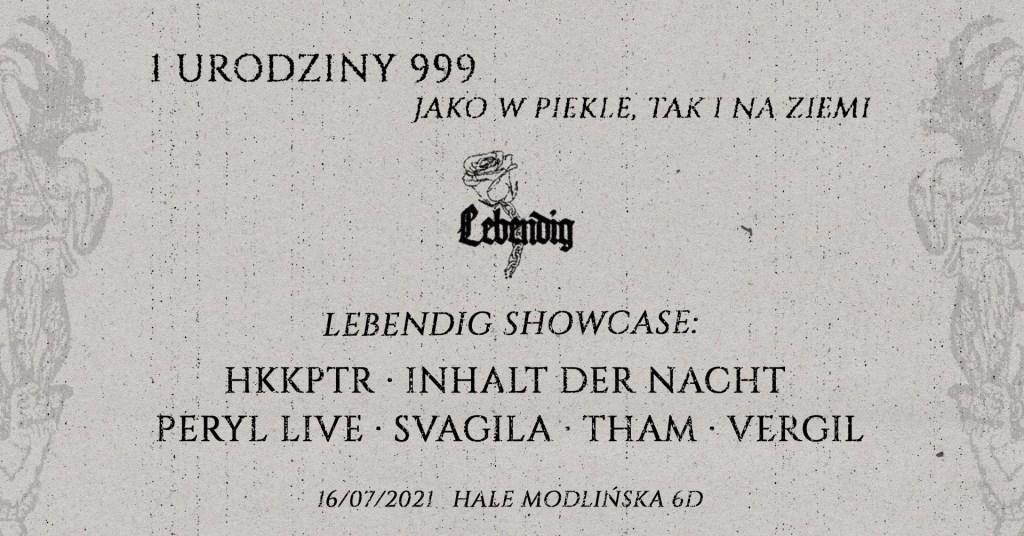 999's First Birthday: Lebendig Showcase - Flyer front