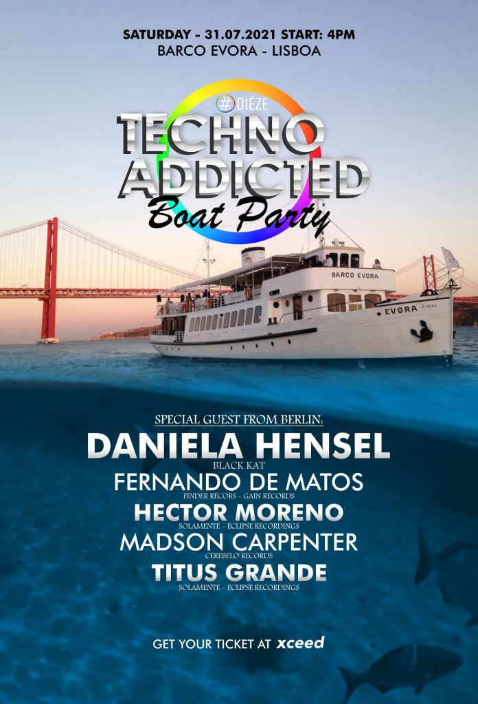 [SOLD-OUT] Techno Addicted Boat Party - Flyer front