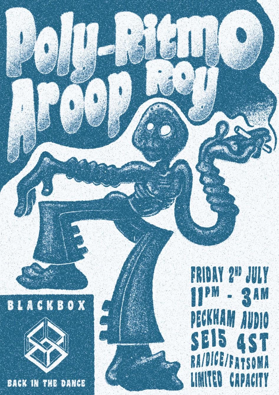 Blackbox Back in the Dance: Poly-Ritmo & Aroop Roy - Flyer back