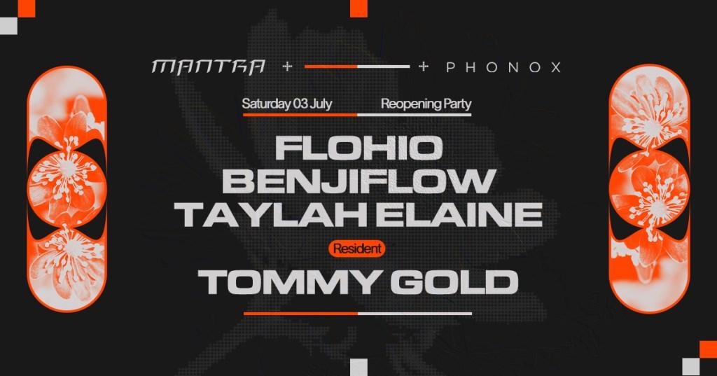 Mantra: Flohio, Benjiflow, Tommy Gold & Taylah Elaine - Flyer front
