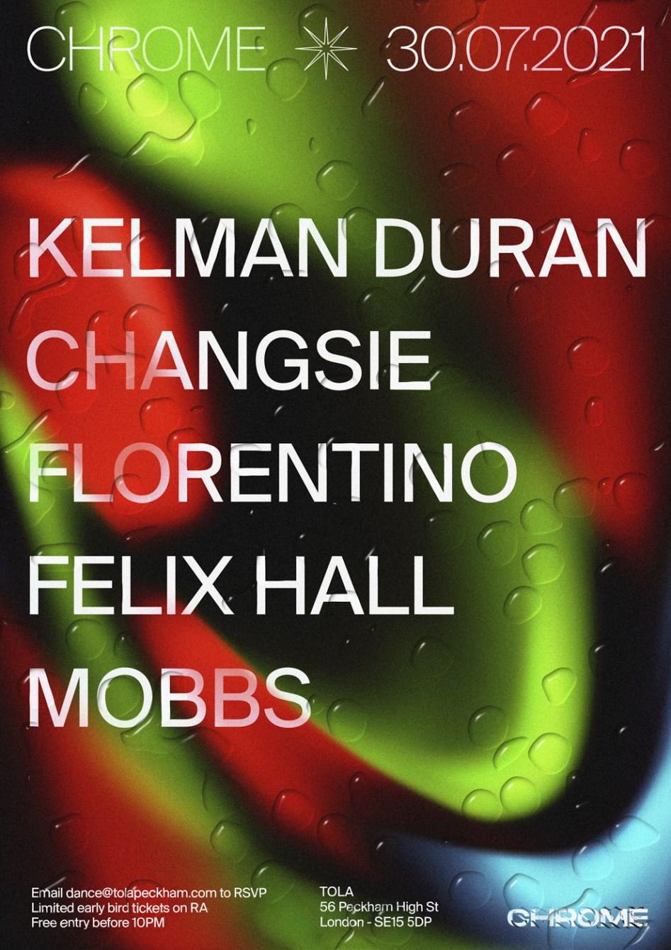 Chrome: Changsie + Florentino + Kelman Duran + Mobbs + Felix Hall - Flyer front
