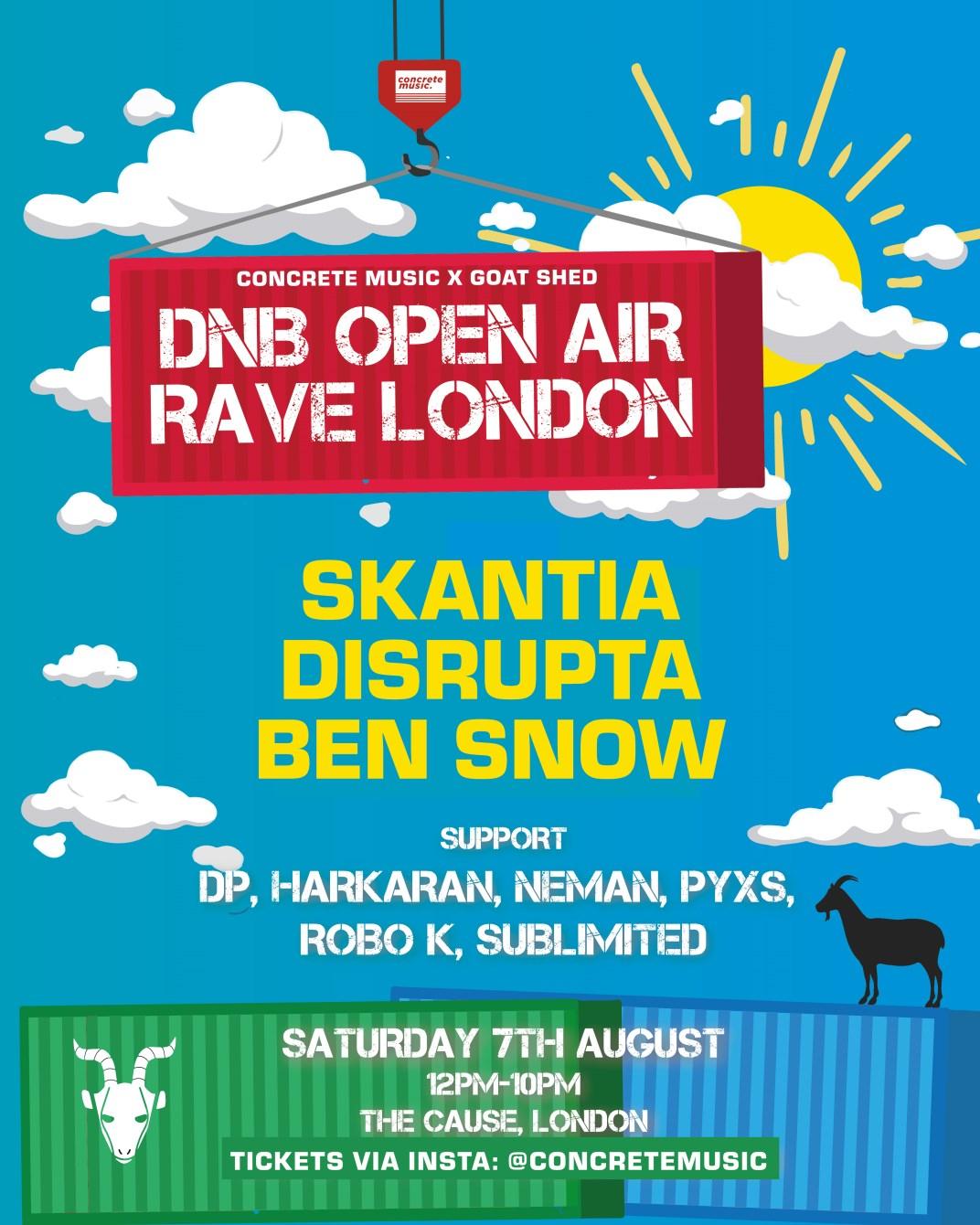 [CANCELLED] DnB Open Air Rave London - Skantia, Disrupta, Ben Snow - Flyer front