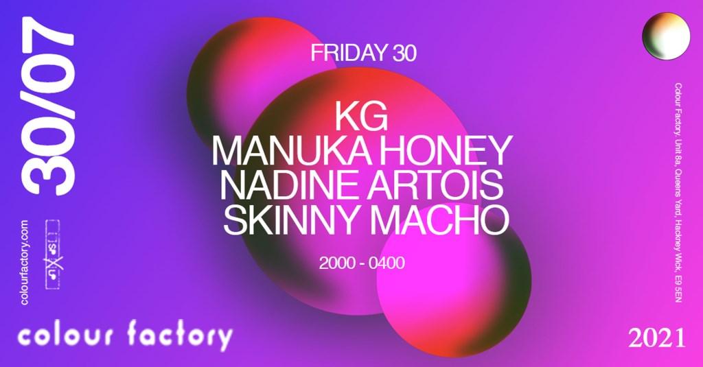 Colour Factory: KG, Skinny Macho, Manuka Honey & Nadine Artois - Flyer front