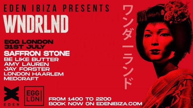 Eden presents WNDRLND W/ Saffron Stone - Rooftop Party - Flyer front