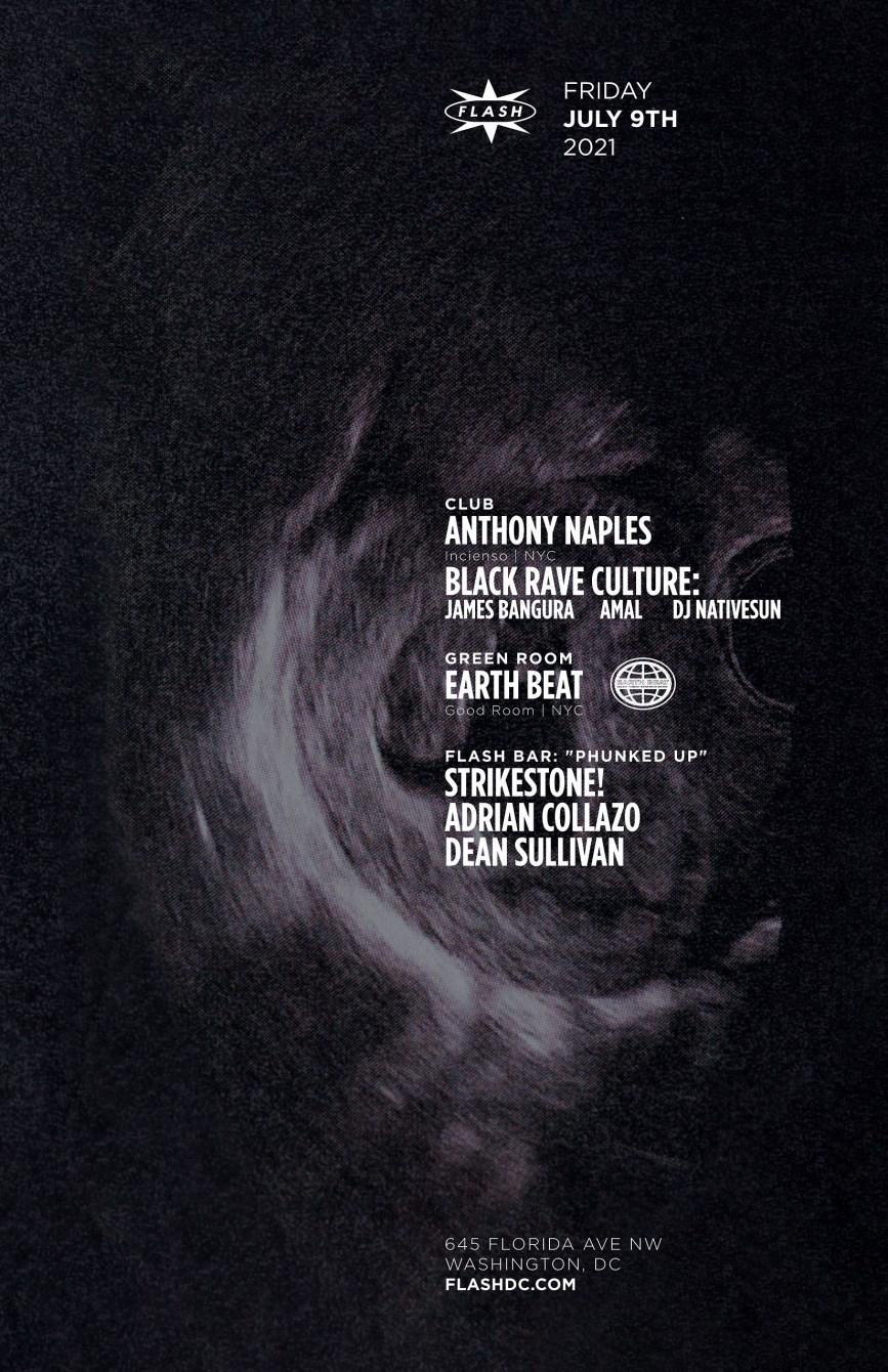 Anthony Naples - Black Rave Culture: James Bangura - Amal - DJ Nativesun - Earth Beat - Flyer front
