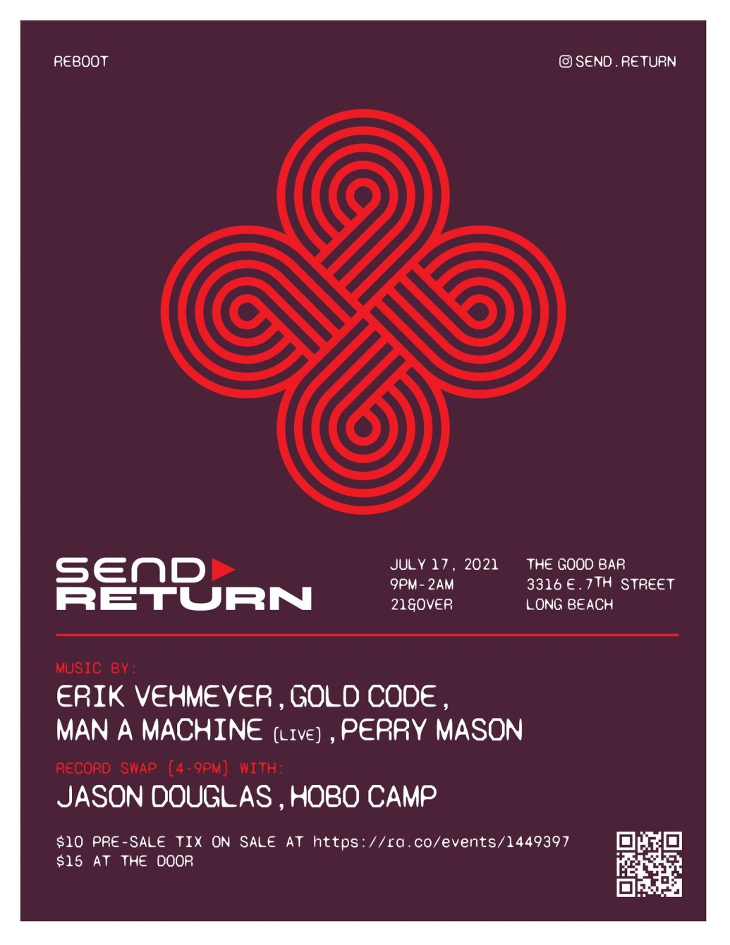 Sold Out Send»return with Erik Vehmeyer, Man a Machine (Live), Perry Mason, Gold Code - Flyer front