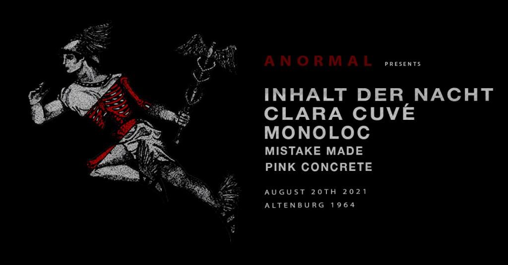 Anormal x ATG: Inhalt der Nacht, Clara Cuvé, Monoloc - Flyer front