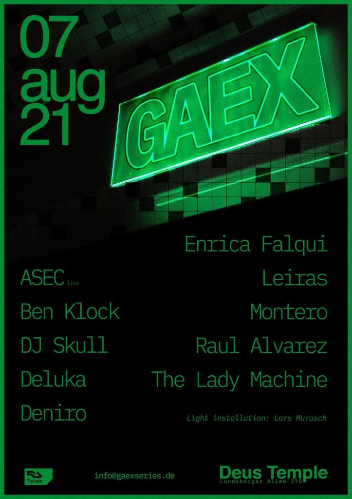 Gaex Series 02 with Ben Klock, DJ Skull, Deniro, The Lady Machine & More - Flyer front