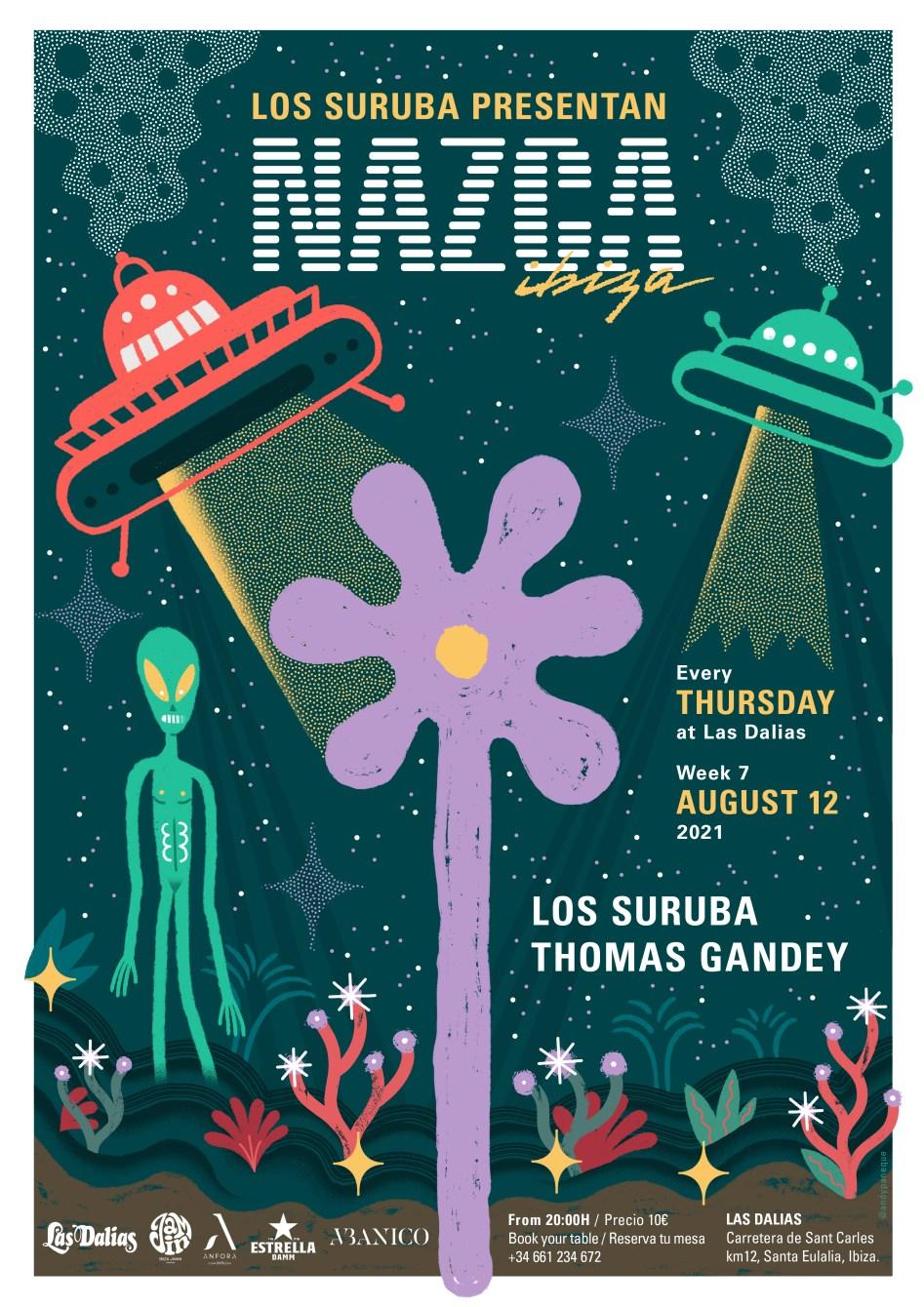 Los Suruba presentan Nazca Ibiza / Week7 with Thomas Gandey - Flyer front