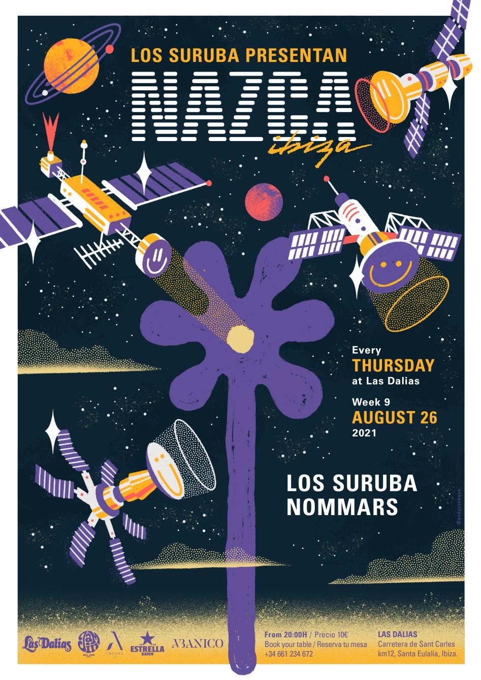 Los Suruba presentan Nazca Ibiza / Week9 - Flyer front