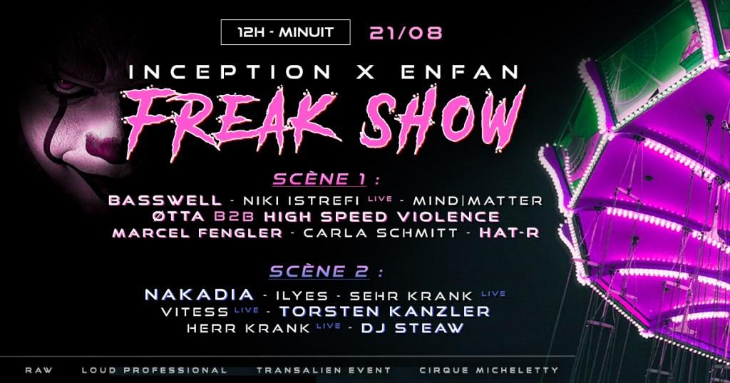 Inception X Enfan: Freak Show - Flyer front