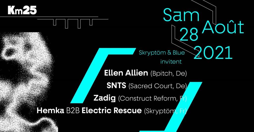 Skryptöm Invite Blue Origin: Ellen Alien, SNTS, Zadig, Hemka b2b Electric Rescue. - Flyer front