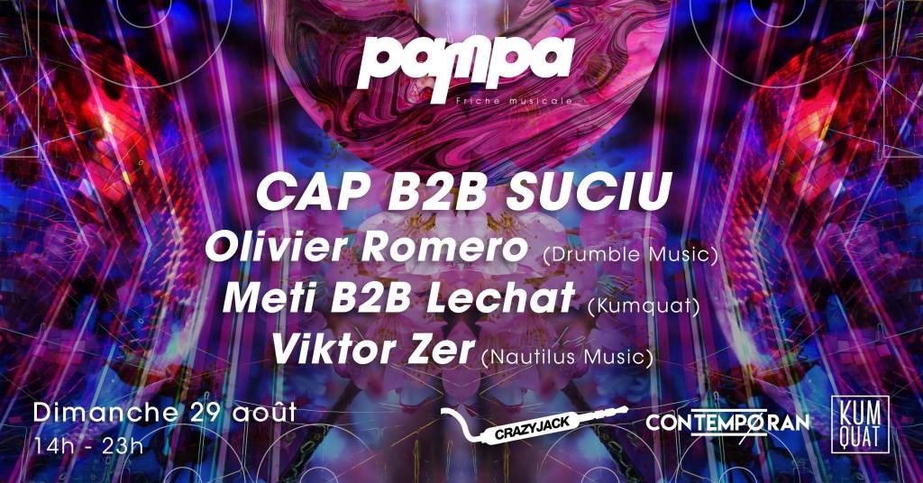 Pampa: cap b2b Suciu, Olivier Romero, Meti b2b Lechat, Viktor Zer - Flyer front
