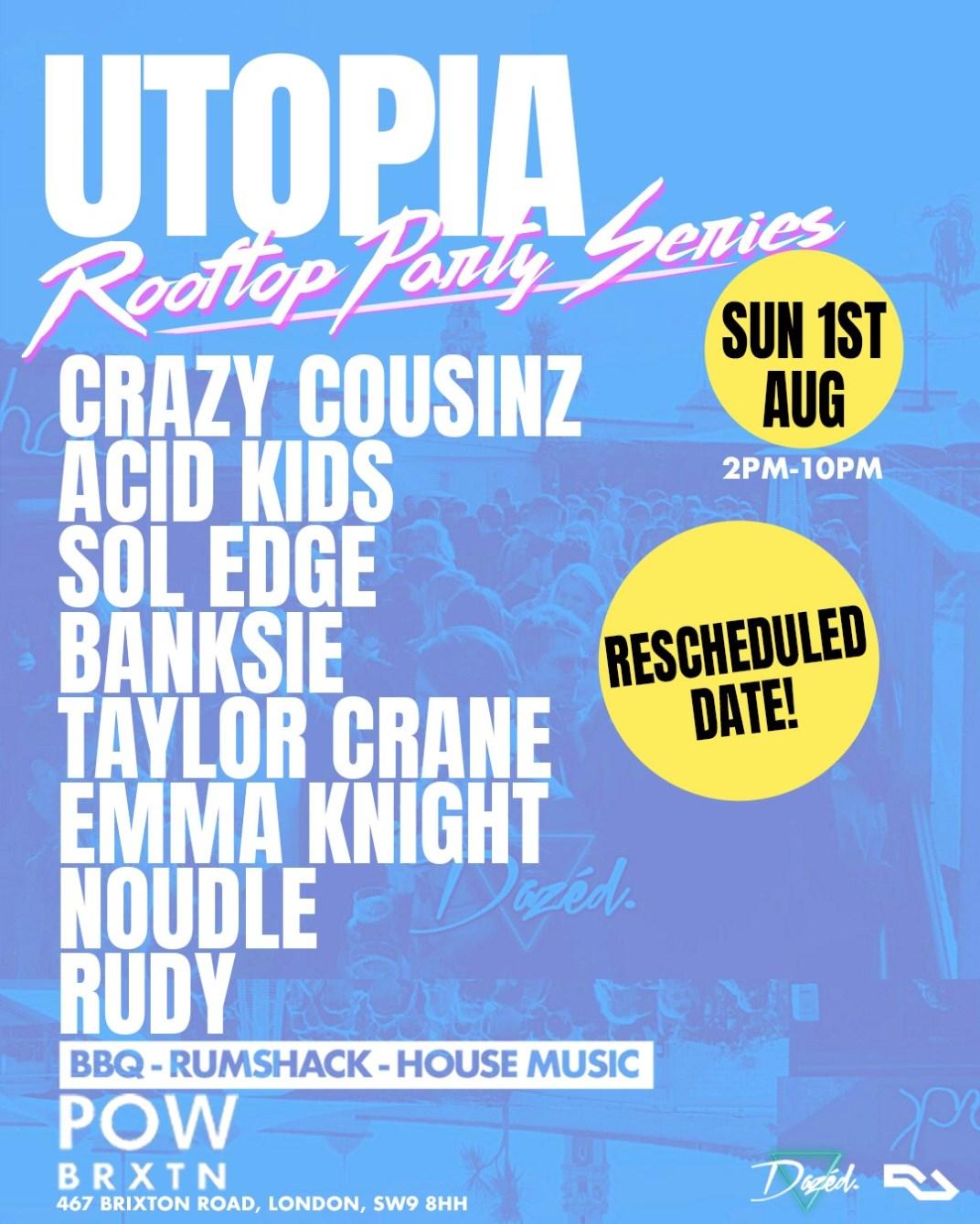 Utopia: Summer Rooftop Party - Flyer front