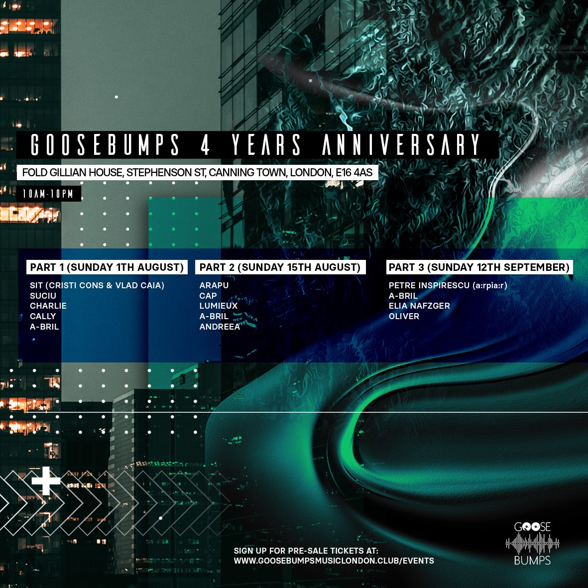 Goosebumps 4 Years Anniversary with SIT, Suciu, Charlie, caLLy - Flyer front