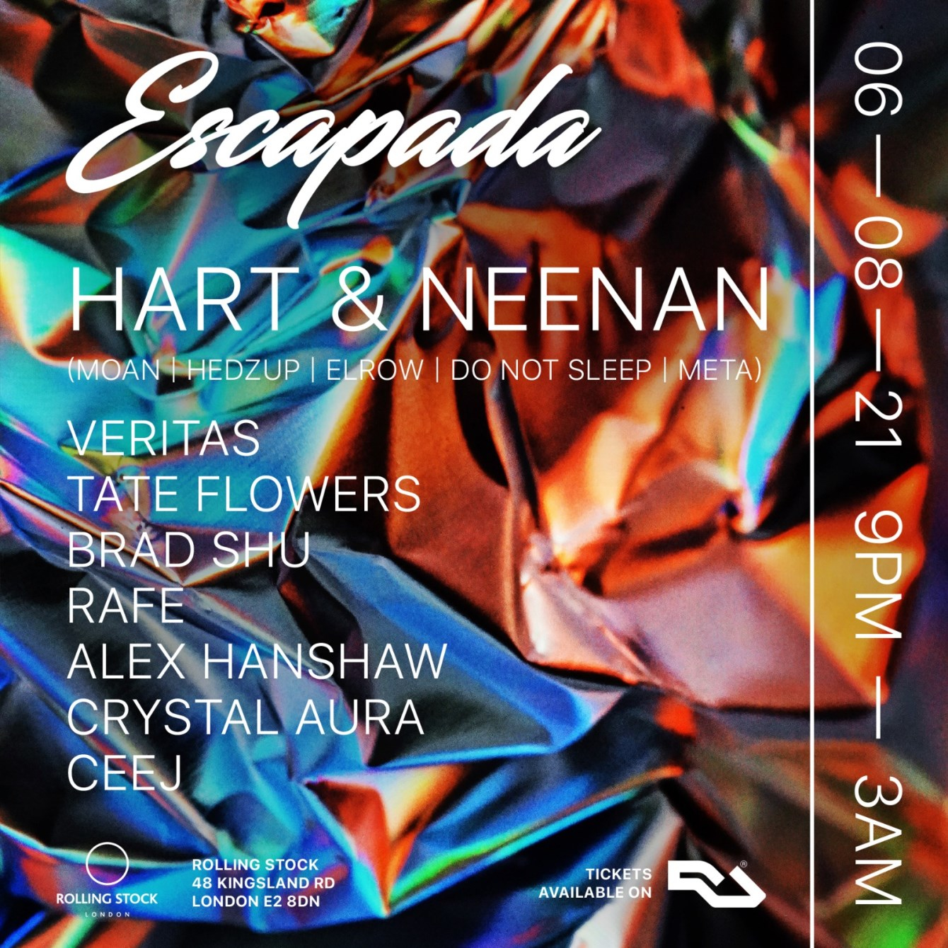 Escapada - Let's Dance at Rolling Stock with Special Guest Hart & Neenan - Flyer front