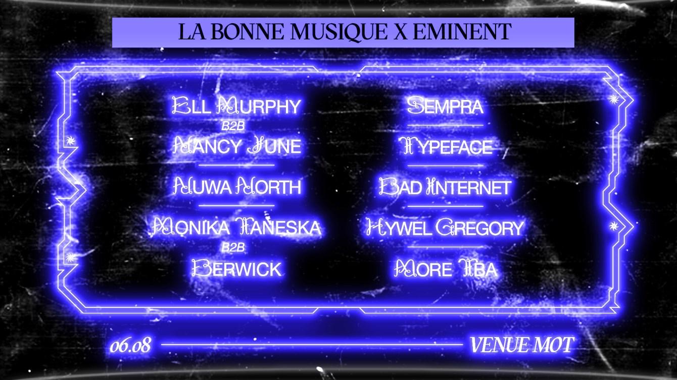 LBM x Eminent: Ell Murphy b2b Nancy June, Nüwa Nrth, Sempra - Flyer front