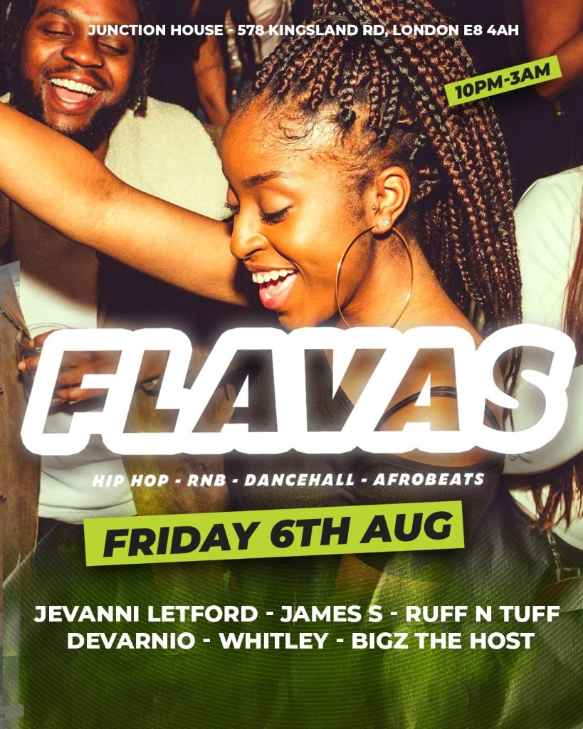 Flavas at Junction House - Flyer front