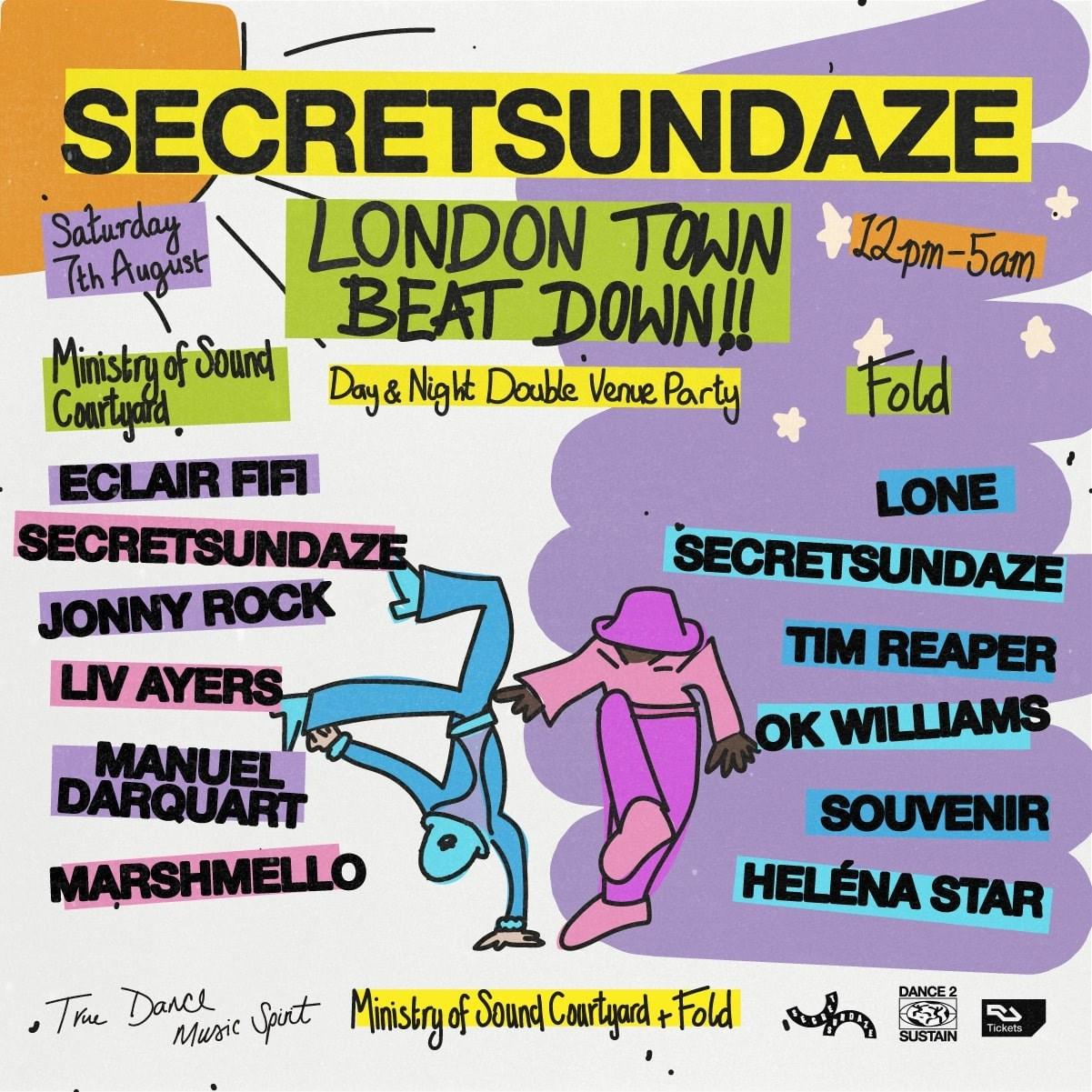 Secretsundaze London Town Beat Down!! Double Venue Day & / or Night Party - Flyer back