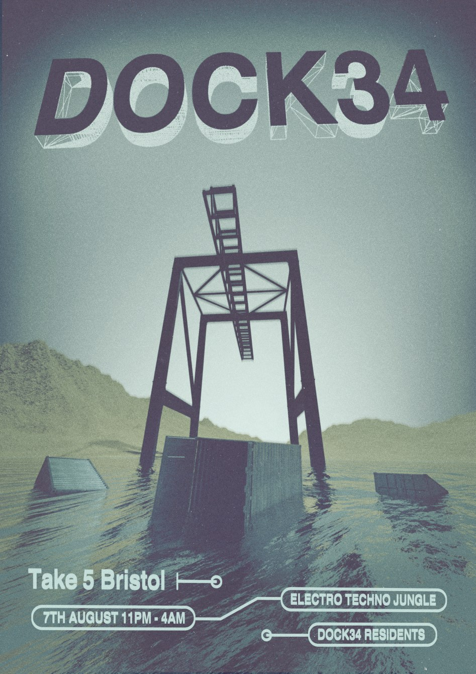[CANCELLED] Dock34 at Take 5 - Flyer front