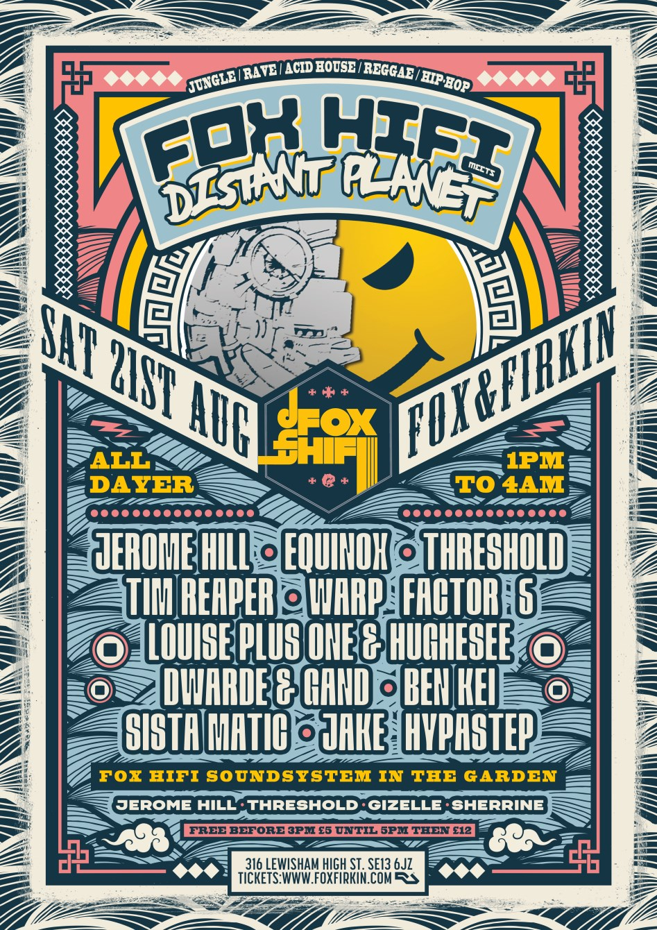 Distant Planet vs Fox Hifi - All Dayer - Flyer front