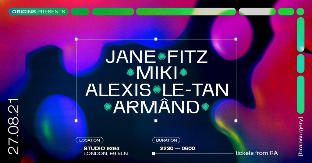 [CANCELLED] Origins: Jane Fitz, Miki, Alexis Le Tan, Armând - Flyer front
