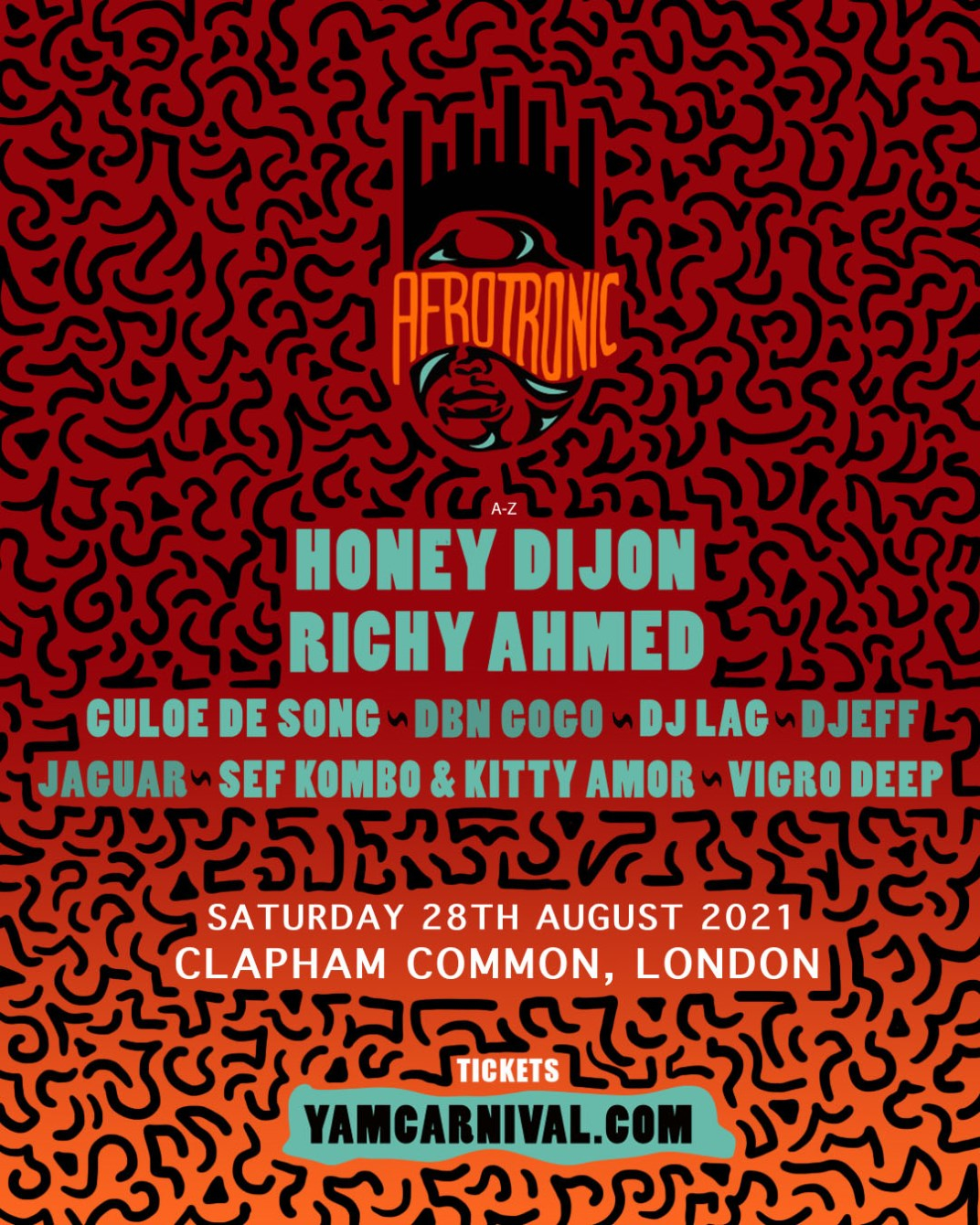 Afrotronic at YAM Carnival (August Bank Holiday 2021) - Flyer front