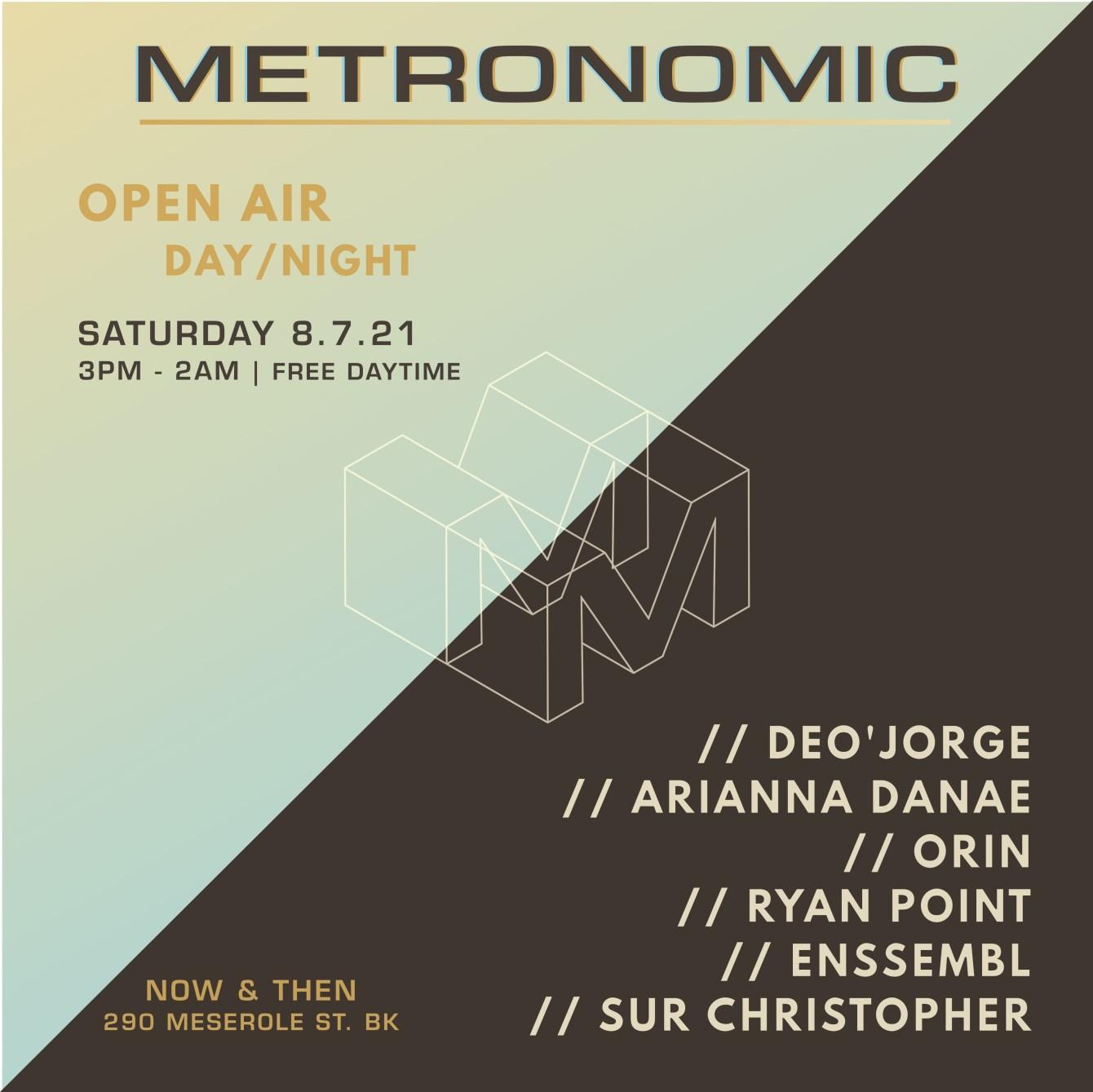 Metronomic - Open Air - Deo'jorge/Orin/Arianna DANAE/Ryan Point/Enssembl/Sur Christopher - Flyer front