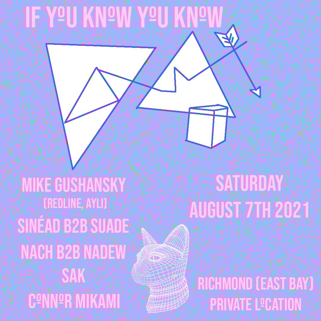 If You Know You Know - East Bay Community Rave with Mike Gushansky, Suade, Connor Mikami - Flyer front