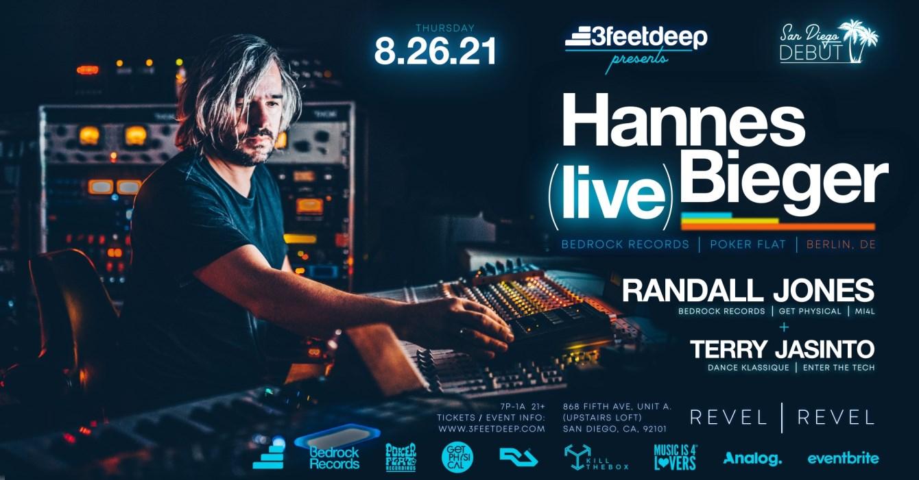 Hannes Bieger [LIVE] (Bedrock, Poker Flat / Berlin, Germany) [3feetdeep] - Flyer front