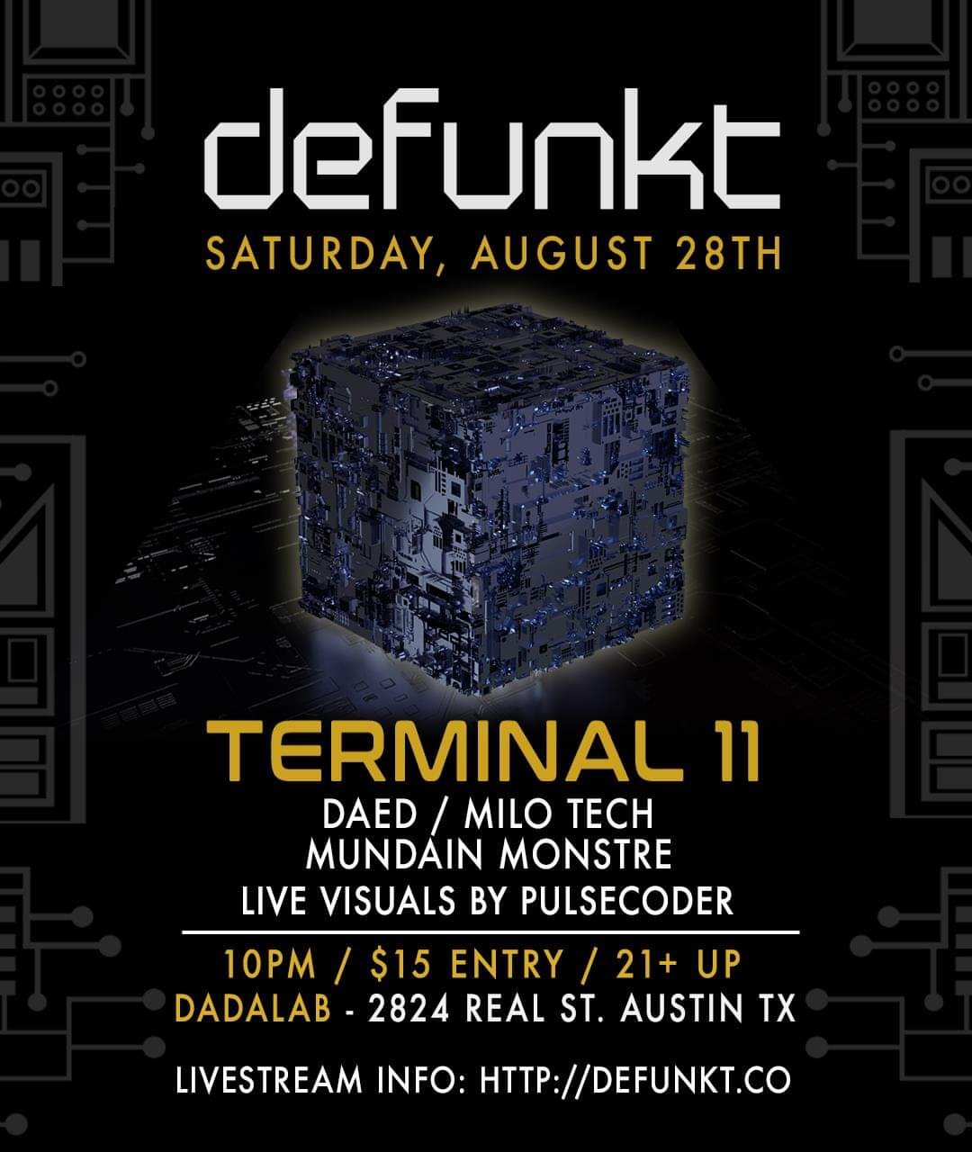 Defunkt at Dadalab Feat. Terminal 11 - Flyer front